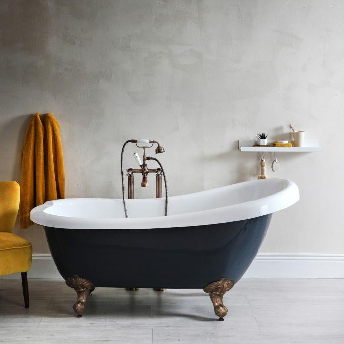 Doppelseitige Freistehende Badewanne Steingrau 1710mm x 740mm mit Füßen in geölter Bronze - Elton