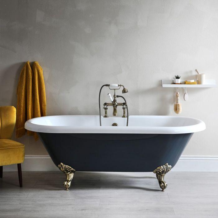 Freistehende Badewanne mit zwei Rückenschrägen, Steingrau, 1795mm x 785mm, Mittelablauf - Füße in gebürstetem Gold - Elton
