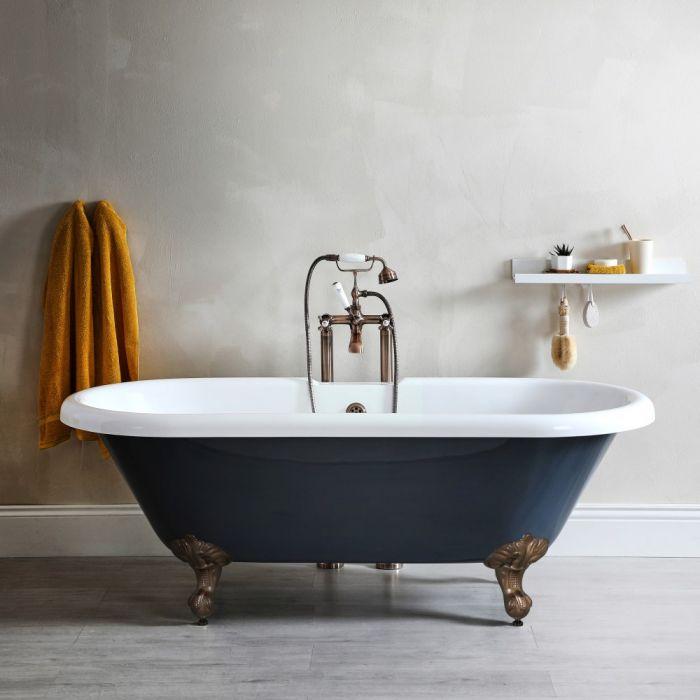 Freistehende Badewanne mit zwei Rückenschrägen, Steingrau, 1795mm x 785mm, Mittelablauf - Füße in geölter Bronze - Elton