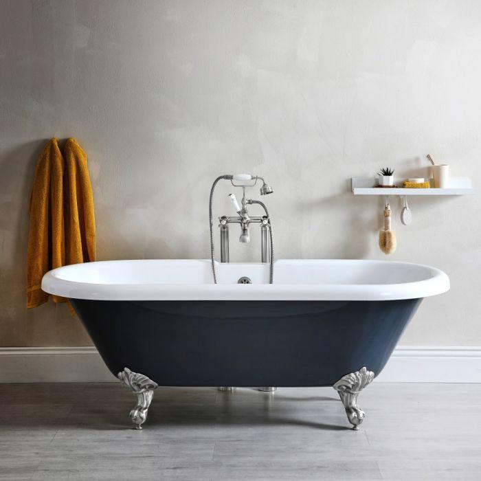 Doppelseitige Freistehende Badewanne Gerade mit Füßen, Steingrau 1795mm x 785mm - Elton