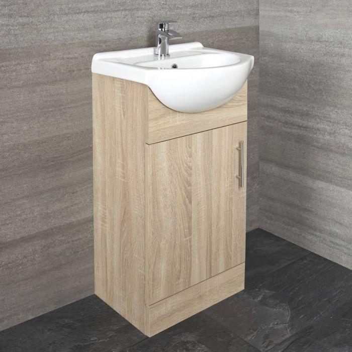 Waschtisch mit Unterschrank 455mm - Eiche, mit einer Tür - ohne Armatur
