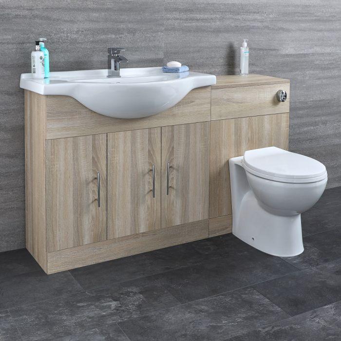 Waschtisch und Toiletten Set - Eiche 1340mm - ovale Toilette