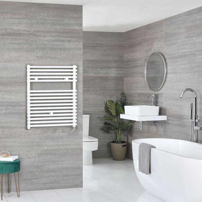 Elektrischer Badheizkörper Weiß 730mm x 450mm inkl. 400W Heizelement – Arno