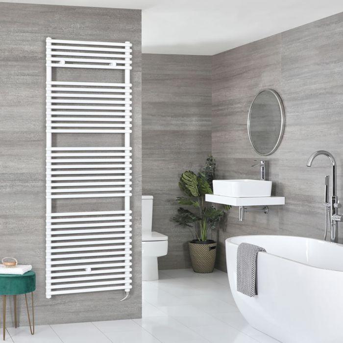 Elektrischer Handtuchheizkörper, flach - Wählbare Größe und Heizelement, optionale Kabelabdeckung - Weiß – Arno