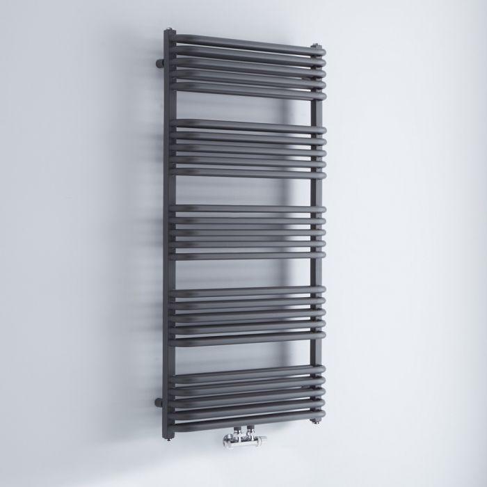 Design Badheizkörper mit Mittelanschluss, Anthrazit 1269mm x 600mm 1387W – Arch