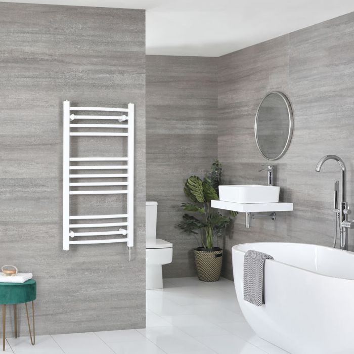 Elektrischer Badheizkörper Weiß Gebogen 1000mm x 500mm inkl. 400W Heizelement – Ive