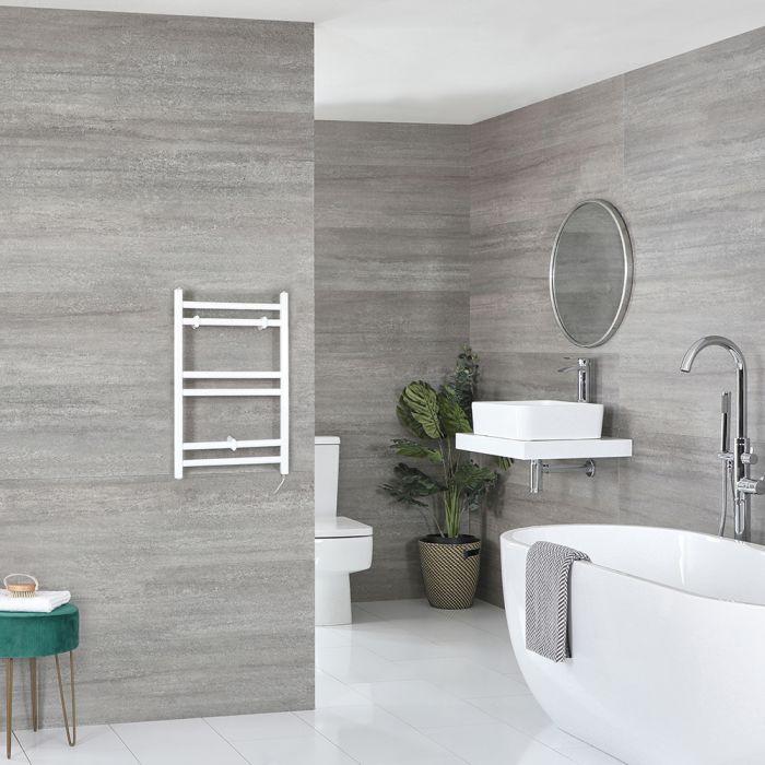 Elektrischer Badheizkörper Weiß Flach 600mm x 400mm inkl. 200W Heizelement – Ive