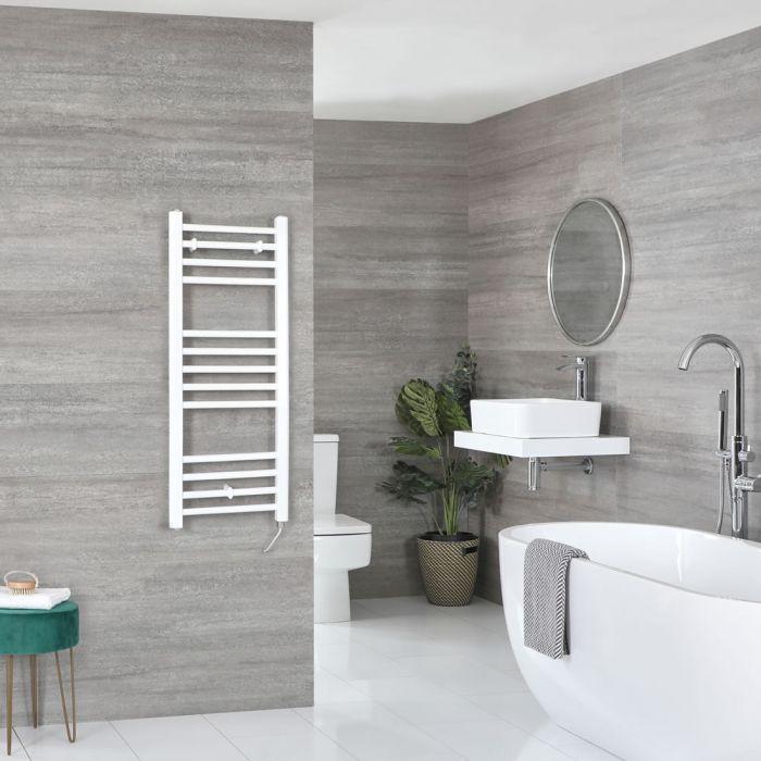 Elektrischer Badheizkörper Weiß Flach 1000mm x 400mm inkl. 400W Heizelement – Ive