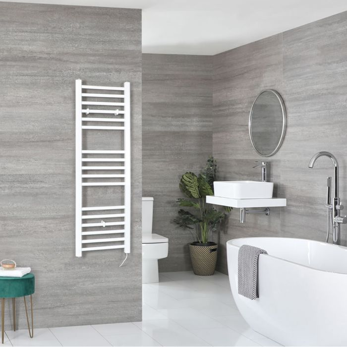 Elektrischer Badheizkörper Weiß Flach 1200mm x 400mm inkl. 300W Heizelement – Ive