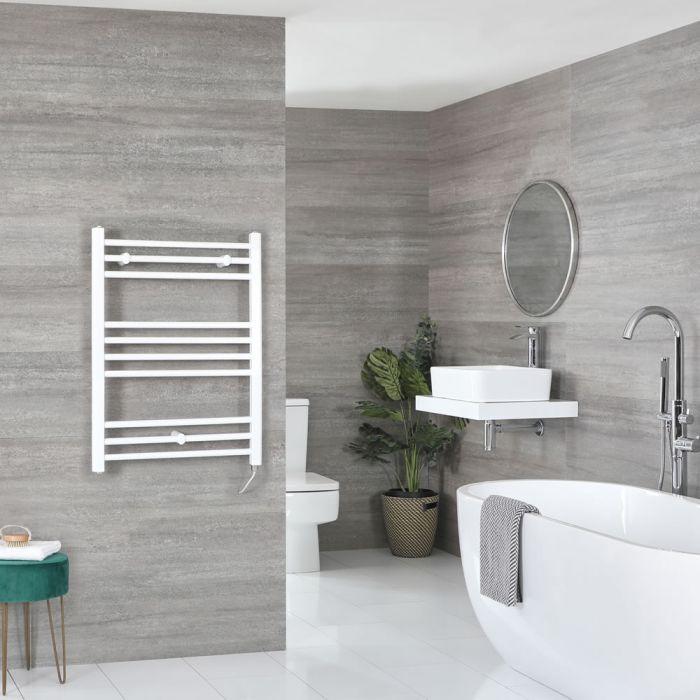 Elektrischer Badheizkörper Weiß Flach 800mm x 500mm inkl. 200W Heizelement – Ive