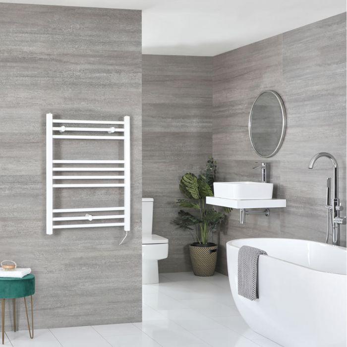 Elektrischer Badheizkörper Weiß Flach 800mm x 600mm inkl. 400W Heizelement – Ive