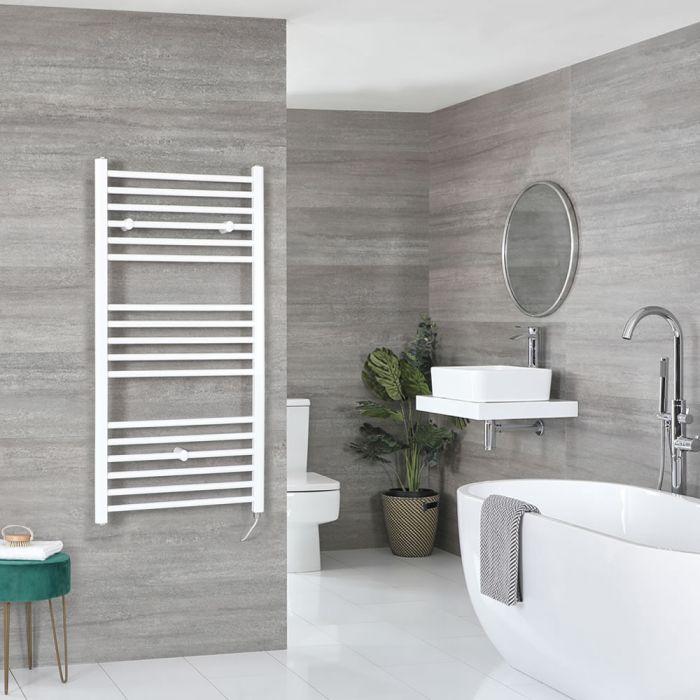 Elektrischer Badheizkörper Weiß Flach 1200mm x 600mm inkl. 600W Heizelement – Ive