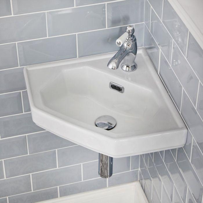 Eckwaschbecken Wandmontage für Gäste-WCs 1-Loch - Richmond