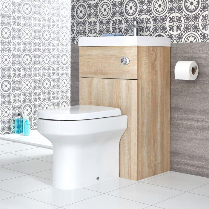 2-in-1 Kombination aus WC und Waschbecken, Eiche - Cluo