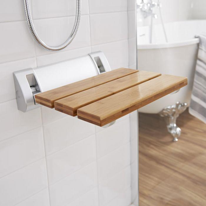 Ausklappbarer Duschsitz zur Wandmontage Bambus inkl. breiter Wandhalterung - Select