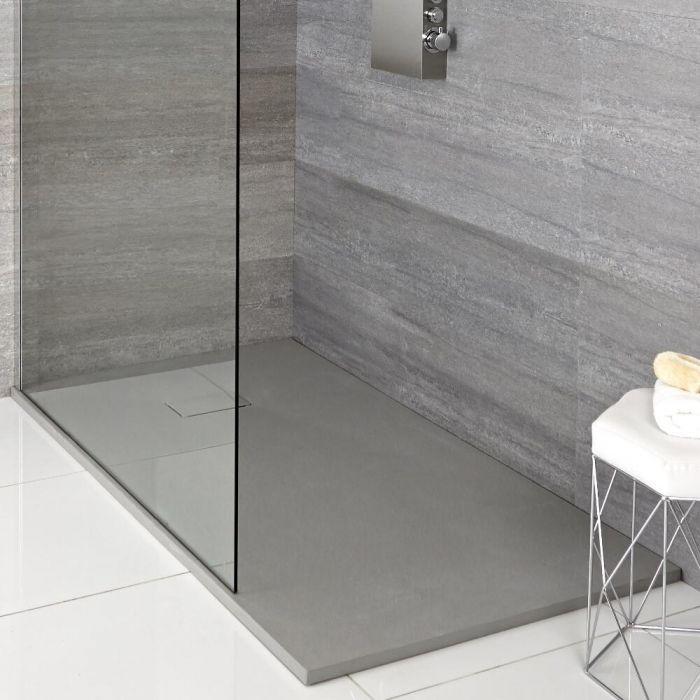 Duschwanne mit Schiefer-Effekt in Hellgrau, rechteckig – 1700mm x 900mm - Rockwell