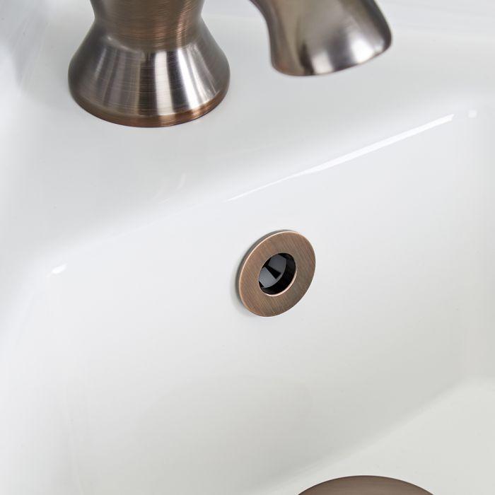 Überlauf-Rosette in geölter Bronze, für Waschbecken