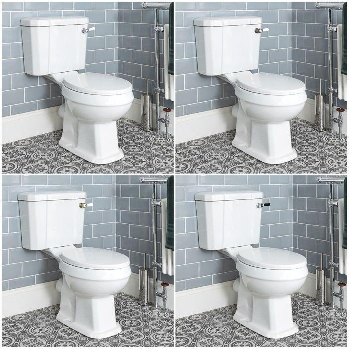 Retro - Traditionelle Toilette mit aufgesetztem Spülkasten, Spülhebel wählbar