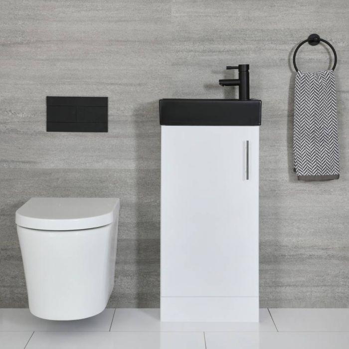 Kompaktes Waschbecken Schwarz mit Unterschrank Weiß 400mm Standmontage - Cluo