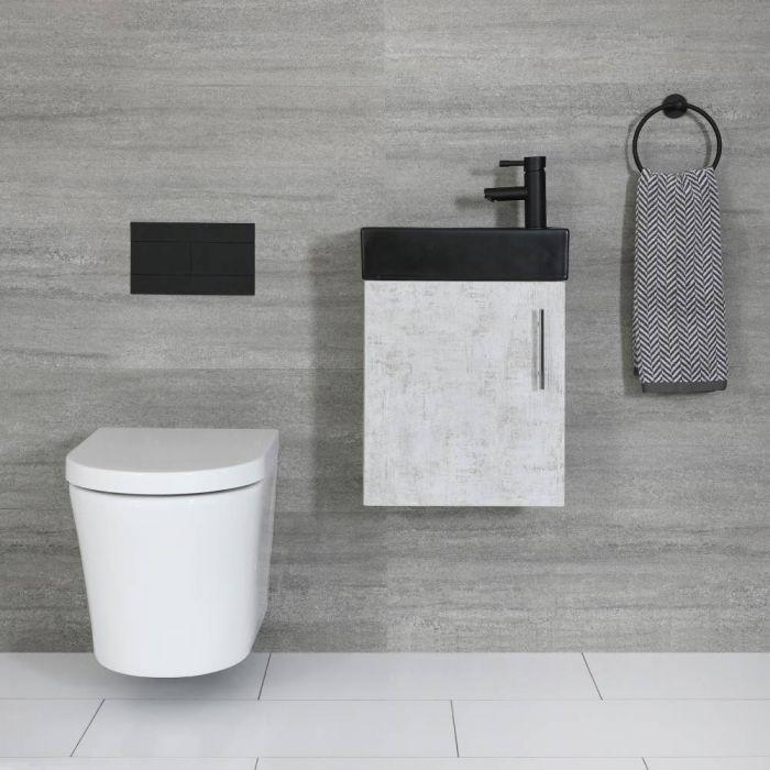Kompaktes Waschbecken Schwarz mit Unterschrank Wandmontage Betongrau 400mm - Cluo