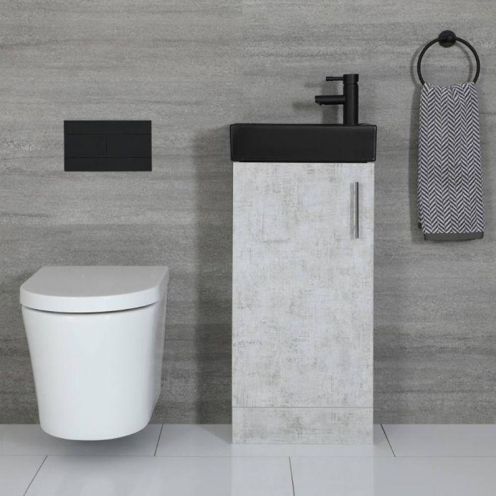 Kompaktes Standwaschbecken Schwarz mit Unterschrank Betongrau 400mm - Cluo
