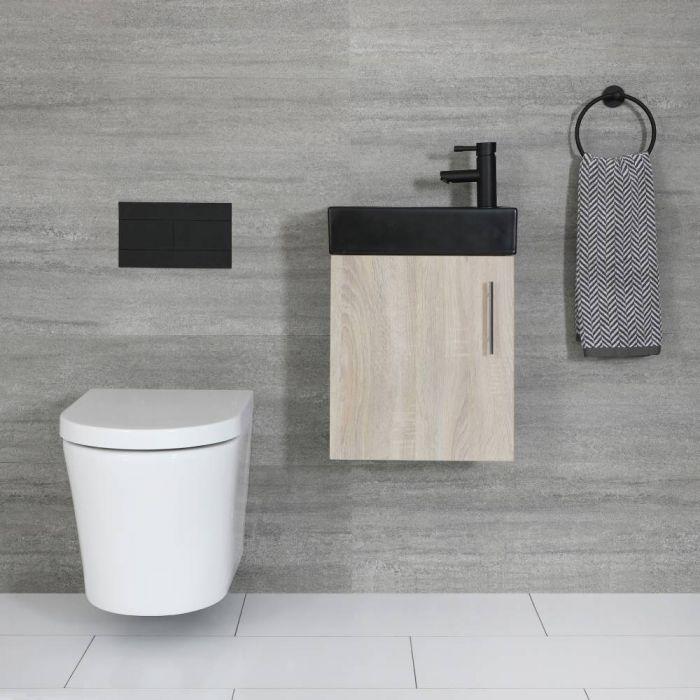 Kompaktes Waschbecken Schwarz mit Unterschrank Wandmontage Eiche 400mm - Cluo