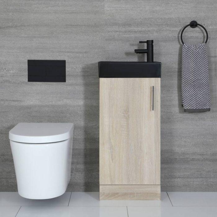 Kompaktes Standwaschbecken Schwarz mit Unterschrank Eiche 400mm - Cluo