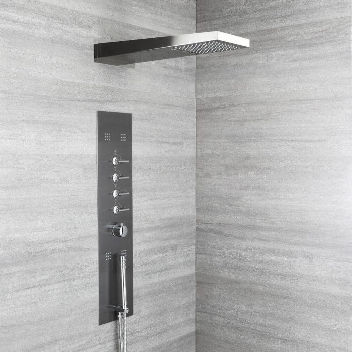 Duschpaneel mit Thermostat – mit Regen/Wasserfall-Duschkopf, Handbrause und Körperdüsen - Grau – Océanie