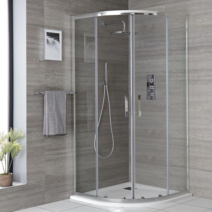 Viertelkreis Duschkabine mit Duschwanne im Schiefereffekt, 900mm - Portland
