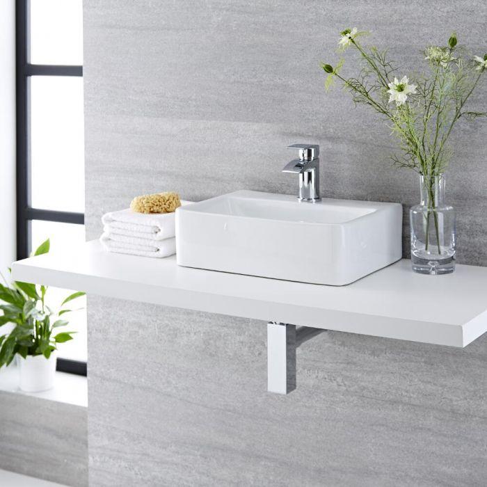 Aufsatzwaschbecken, rechteckig, 450mm x 295mm - mit Wasserfall-Einhebelmischer - Exton