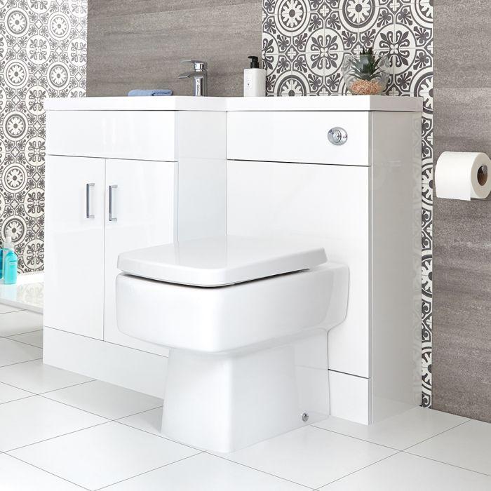 Waschtisch mit Unterschrank Kombi-Set mit Stand Toilette Weiß, Links - Geo