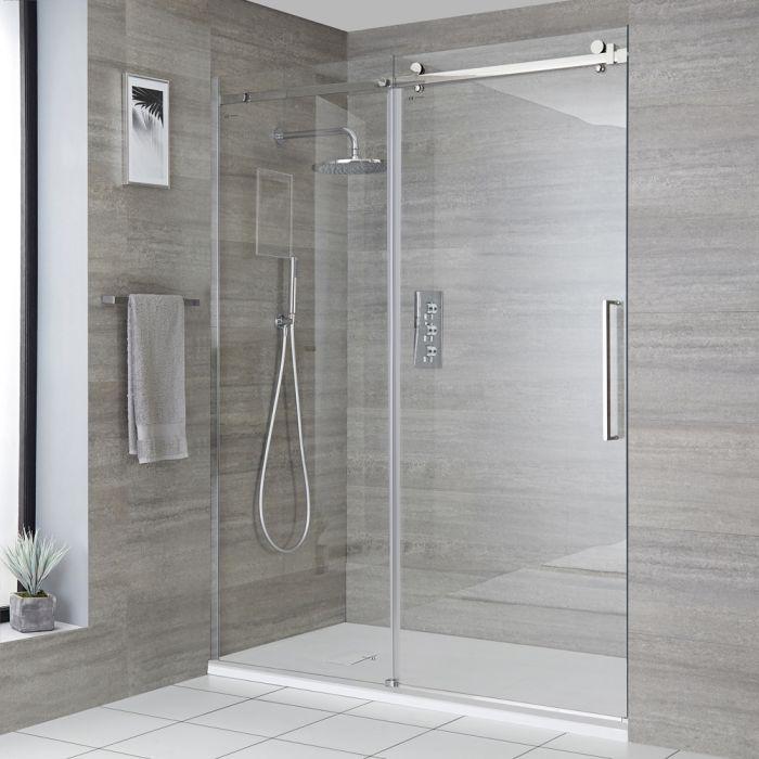 Rahmenlose Dusch-Schiebetür mit Duschwanne in Schiefer-Effekt, Größe wählbar - Portland