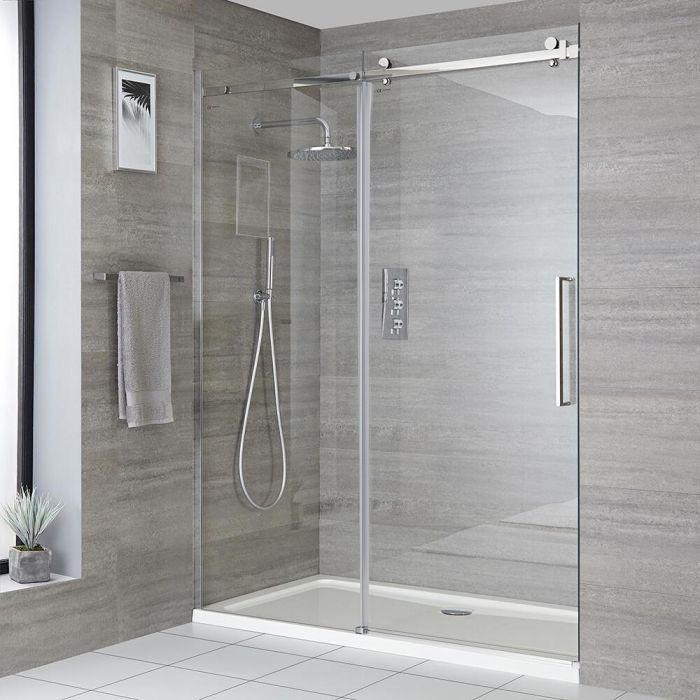 Rahmenlose Duschschiebetür mit Duschwanne für Nische, Größe wählbar - Portland