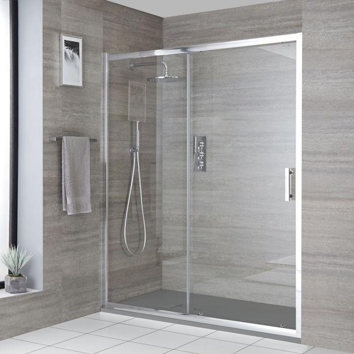 Einbau-Duschkabine mit Schiebetür, Duschwanne im Schiefer-Effekt, Größe wählbar - Portland