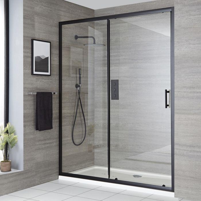 Einbau-Duschkabine mit Schiebetür, weißer Wanne und schwarzem Profil, Größe wählbar - Nox