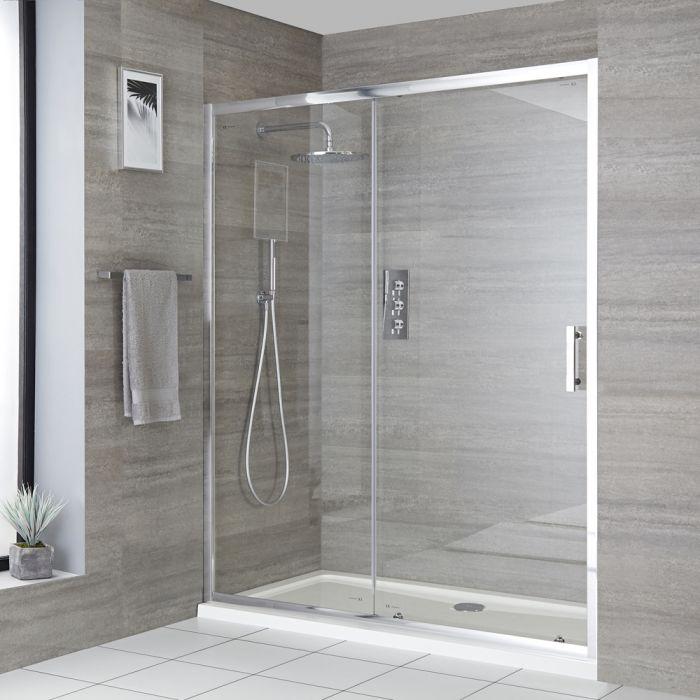 Einbau-Duschkabine mit Schiebetür, Duschwanne in Weiß, Chrom-Rahmen, Größe wählbar - Portland