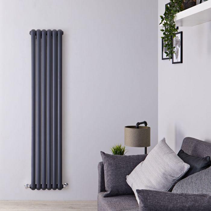 Gliederheizkörper Vertikal 2 Säulen Nostalgie Anthrazit 1500mm x 383mm 1258W - Saffre