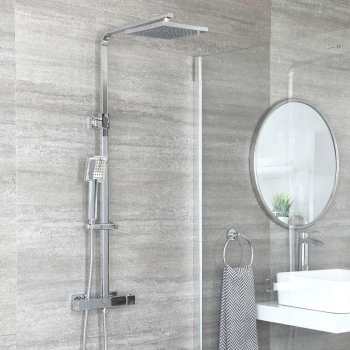 Thermostatische Duschsäule mit Armatur Quadratisch inkl. Handbrause und Duschkopf Chrom – Kubix