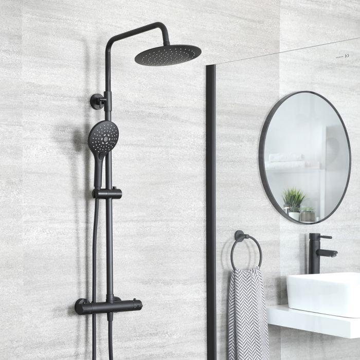 Thermostatische Duschsäule mit Armatur Rund inkl. Multifunktioneller Handbrause und Duschkopf Chrom – Nox