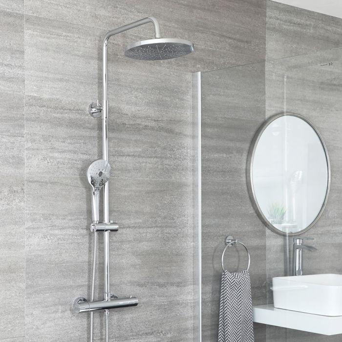 Thermostatische Duschsäule mit Armatur Rund inkl. Multifunktioneller Handbrause und Duschkopf Chrom - Como