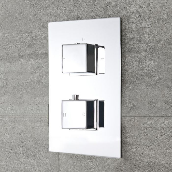 Moderne 2-Wege Thermostat-Duscharmatur mit Funktionswechsler eckige Griffe Unterputz - Kubix