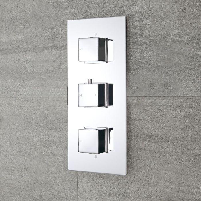 Moderne 2-Wege Thermostat-Duscharmatur eckige Griffe Unterputz - Kubix