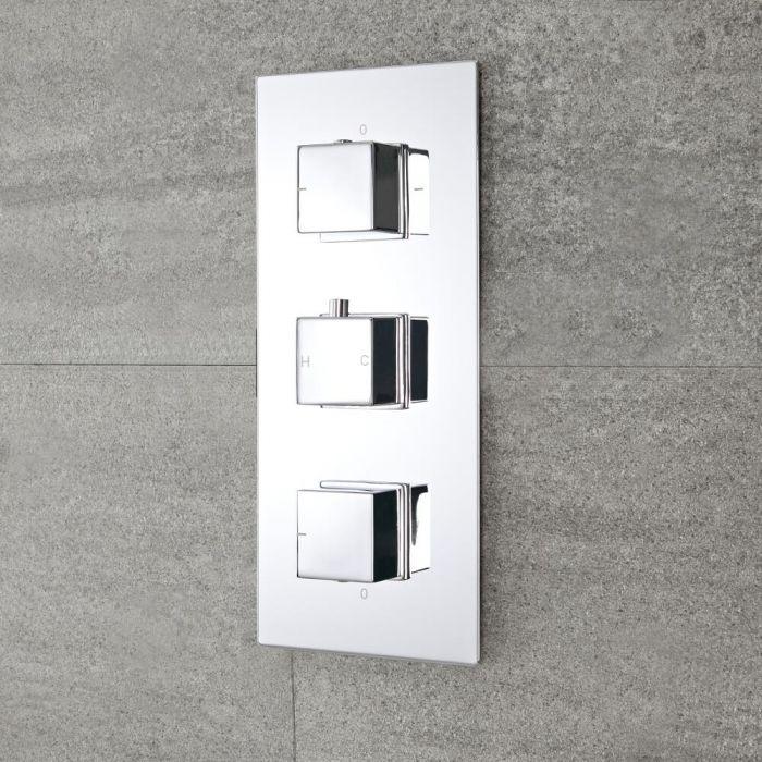 Moderne 3-Wege Thermostat-Duscharmatur mit Funktionswechsler eckige Griffe Unterputz - Kubix