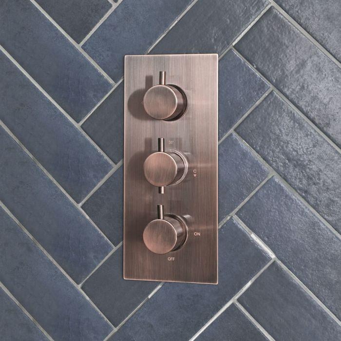 3-Wege Thermostat mit Umsteller in gebürstetem Kupfer - Amara
