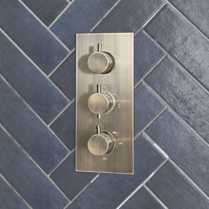 2-Wege Thermostat in gebürstetem Gold - Clarus