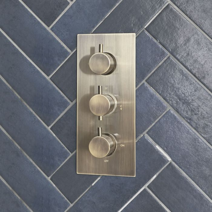 3-Wege Thermostat mit Umsteller in gebürstetem Gold - Clarus