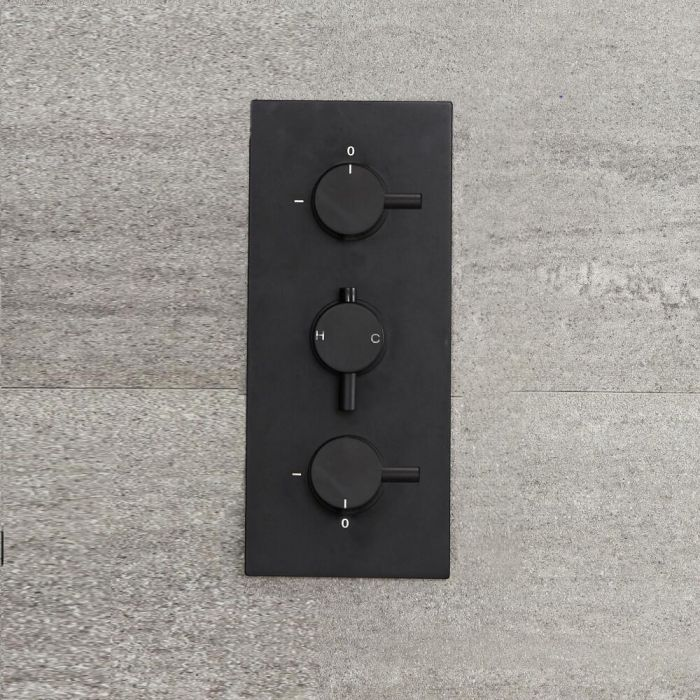 Nox - Schwarzes 3-Wege Thermostat-Duschventil mit Umschalter