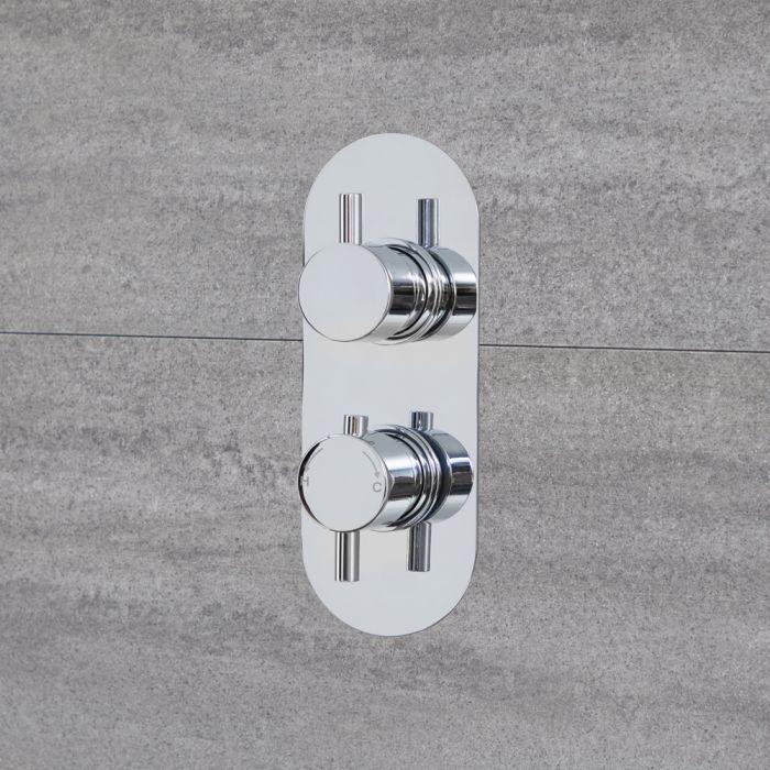 2-Wege Runde Thermostat-Duscharmatur mit Umschalter Chrom - Quest