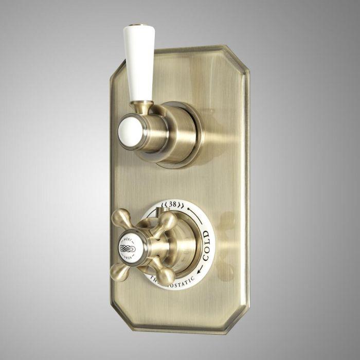 Retro 2-Wege Unterputz Duschventil mit Umleiter, antikes Gold - Elizabeth