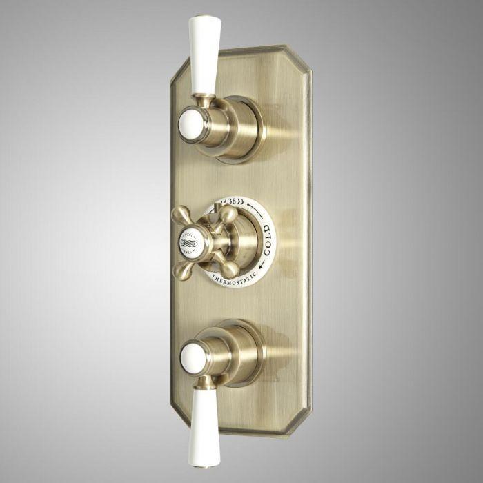 Retro Unterputz-Thermostat, für 2 Verbraucher - Gebürstetes Gold - Elizabeth